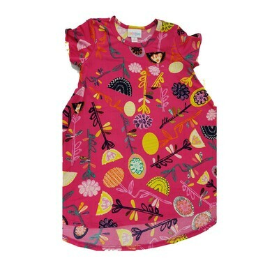 Kids Scarlett LuLaRoe Floral Fuchsia Black Yellow Swing Dress Size 6 fits kids 5-6