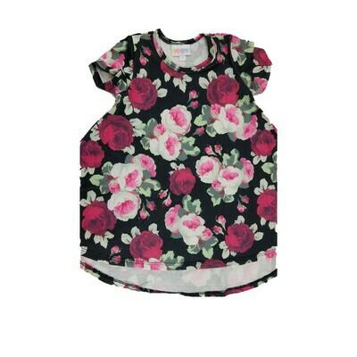 Kids Scarlett LuLaRoe Floral Pink Gray Roses on Black Swing Dress Size 2 fits kids 2T-4