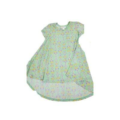 Kids Scarlett LuLaRoe Green Lavender Geometric Swing Dress Size 2 fits kids 2T-4