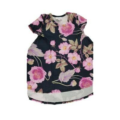 Kids Scarlett LuLaRoe Pink Flowers on Black Swing Dress Size 2 fits kids 2T-4