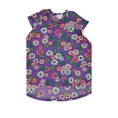 Kids Scarlett LuLaRoe Purple and Pink Floral w/ Pocket Swing Dress Size 2 fits kids 2T-4