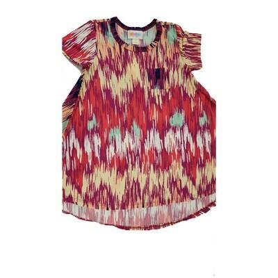 Kids Scarlett LuLaRoe Red Cream Sea Foam Green Geometric w/ Pocket Swing Dress Size 2 fits kids 2T-4