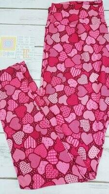 LuLaRoe Tall Curvy TC Valentine Leggings fits sizes 12-18