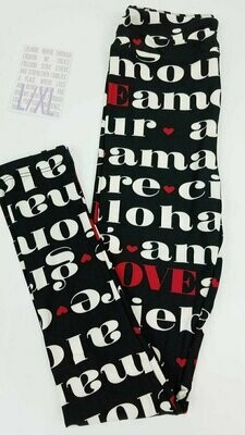Leggings Kids Large-XL (LXL) LuLaRoe Valentines Hearts and Love fits sizes 8-14