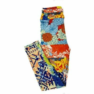 Kids Small-Medium (SM) LuLaRoe Leggings Floral Geometric fits sizes 2-8