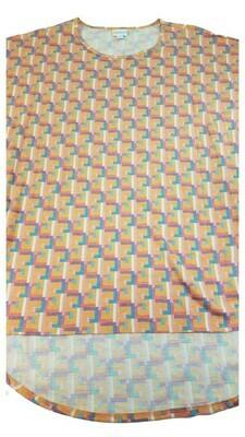 IRMA Blue Orange Grey Beige Geometric Large (L) LuLaRoe Tunic fits 16-18
