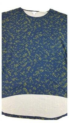 IRMA Blue and Gold Geometric Legging Material Large (L) LuLaRoe Tunic fits 16-18