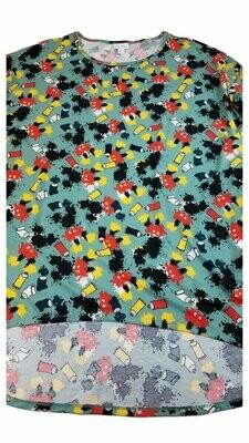 Irma Disney Mickey Mouse Paint Tubes LuLaRoe Tunic X-Large (XL) Multicolor fits 20-22