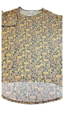 IRMA Grey Yellow Chevron Geometric Large (L) LuLaRoe Tunic fits 16-18