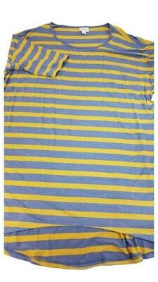 IRMA Light Blue and Gold Stripe Large (L) LuLaRoe Tunic fits 16-18
