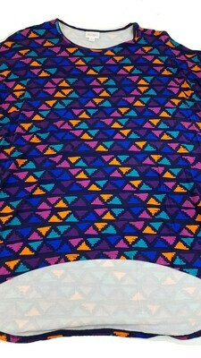 Irma LuLaRoe Purple Blue Orange Teal on Dark Purple Multicolor Geometric Floral Medium (M) Tunic fits 12-14