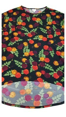 Irma LuLaRoe Red Coral Gold on Black Roses Multicolor Geometric Floral Medium (M) Tunic fits 12-14