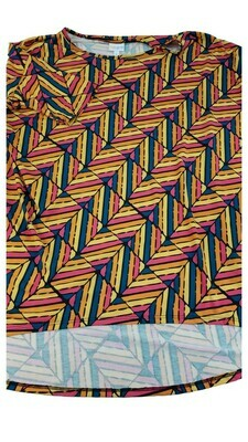 IRMA Pink Orange Yellow and Blue Chevron Geometric Large (L) LuLaRoe Womens Tunic Fits Sizes 16-18