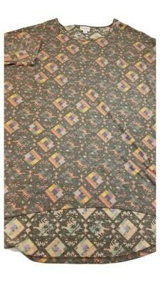 IRMA Multicolor Geometric Large (L) LuLaRoe Womens Tunic Fits Sizes 16-18