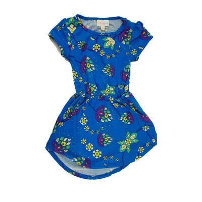 Kids Mae LuLaRoe Floral Blue Pink Yellow Pocket Dress Size 2 fits kids 2T-4