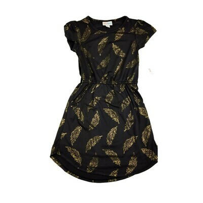 Kids Mae LuLaRoe Elegant Collection Black with Gold Feathers Pocket Dress Size 6 fits kids 5-6
