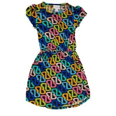 Kids Mae LuLaRoe Geometric Black Blue Pink Yellow Pocket Dress Size 6 fits kids 5-6