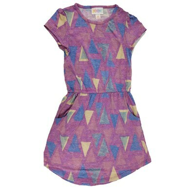 Kids Mae LuLaRoe  Geometric Purple Blue Yellow Triangles Pocket Dress Size 4 fits kids 3-4
