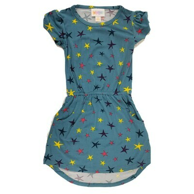 Kids Mae LuLaRoe Light Blue with Yellow Dark Blue Stars Pocket Dress Size 2 fits kids 2T-4