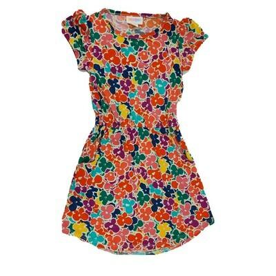 Kids Mae LuLaRoe Floral Purple Blue Green Pocket Dress Size 4 fits kids 3-4
