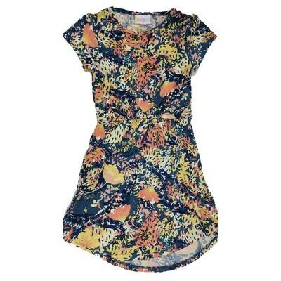Kids Mae LuLaRoe Floral Blue Pink Yellow Pocket Dress Size 6 fits kids 5-6