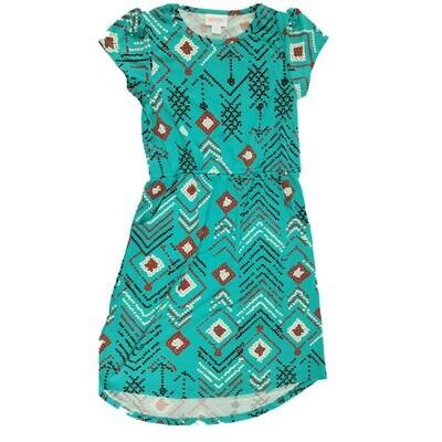 Kids Mae LuLaRoe Geometric Teal Pink Chevrons Pocket Dress Size 10 fits kids 8-10