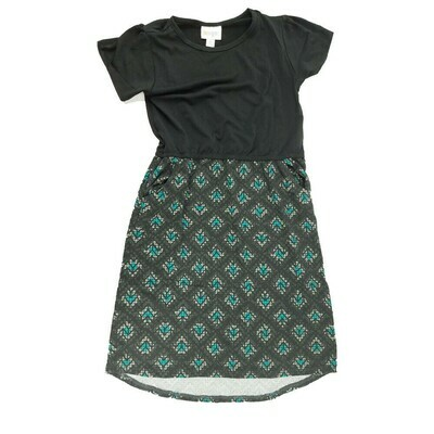 Kids Mae LuLaRoe Geometric Black Green Pocket Dress Size 10 fits kids 8-10