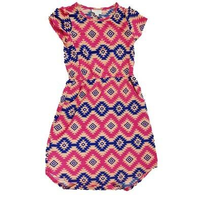 Kids Mae LuLaRoe Geometric Pink Blue Light Pink Zig Zag Stripe Pocket Dress Size 10 fits kids 8-10