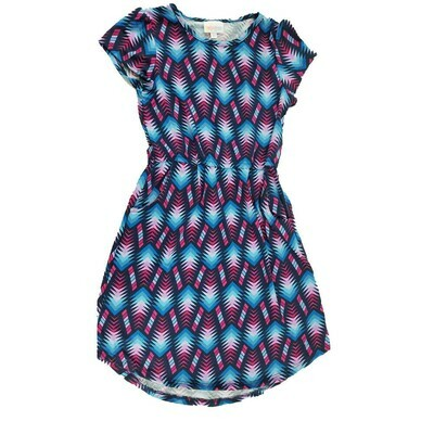 Kids Mae LuLaRoe Geometric Blue Pink Pocket Dress Size 10 fits kids 8-10