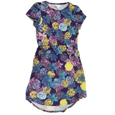 Kids Mae LuLaRoe Dark Blue Yellow Teal Floral Pocket Dress Size 10 fits kids 8-10