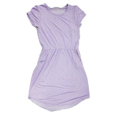 Kids Mae LuLaRoe Geometric Lavender Pink Polka Dot Pocket Dress Size 10 fits kids 8-10