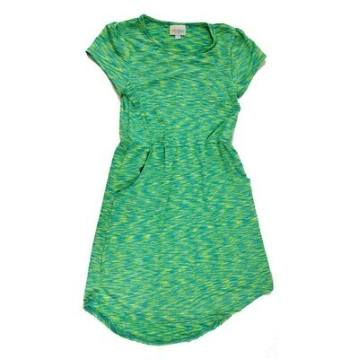 Kids Mae LuLaRoe Geometric Green Blue Zig Zag Pocket Dress Size 10 fits kids 8-10