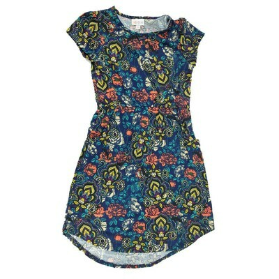 Kids Mae LuLaRoe Floral Dark Blue Yellow Orange Pocket Dress Size 10 fits kids 8-10