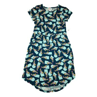 Kids Mae LuLaRoe Disney Daisy Duck Dark Blue Teal Polka Dot Pocket Dress Size 12 fits kids 12-14