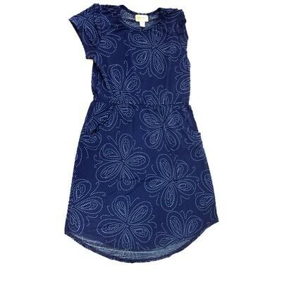 Kids Mae LuLaRoe Floral Dark Blue White Pocket Dress Size 12 fits kids 12-14
