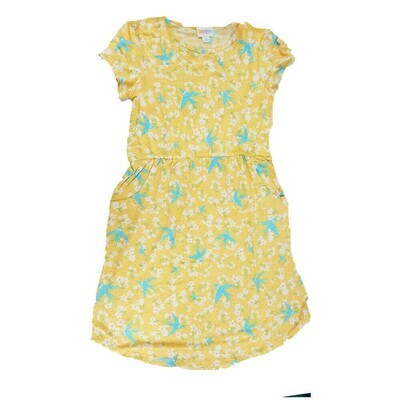Kids Mae LuLaRoe Yellow Light Blue Birds Pocket Dress Size 12 fits kids 12-14