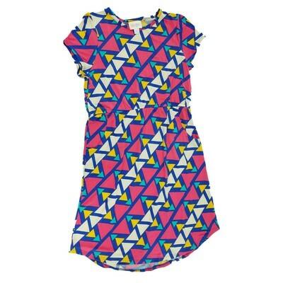 Kids Mae LuLaRoe Geometric Blue White Fuchsia Stripe Pocket Dress Size 12 fits kids 12-14