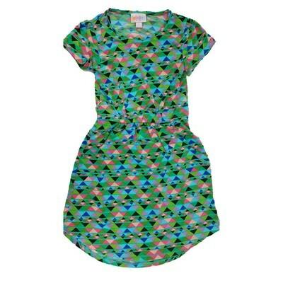 Kids Mae LuLaRoe Geometric Green Pink Black Pocket Dress Size 6 fits kids 5-6