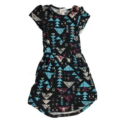 Kids Mae LuLaRoe Geometric Black Light Blue White Pocket Dress Size 6 fits kids 5-6
