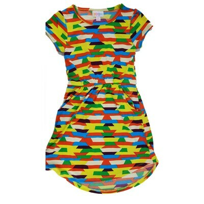 Kids Mae LuLaRoe Geometric Yellow Green Black Blue Pocket Dress Size 6 fits kids 5-6