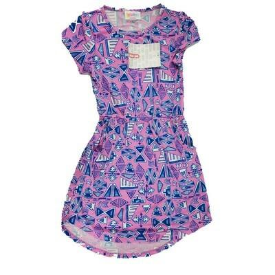 Kids Mae LuLaRoe Geometric Lavender Blue Pocket Dress Size 6 fits kids 5-6