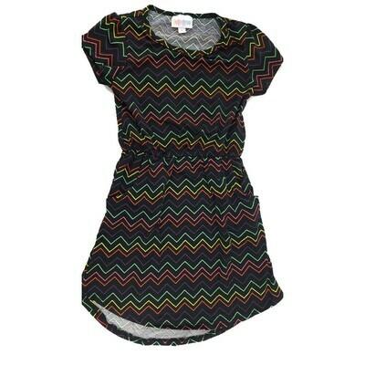 Kids Mae LuLaRoe Black Yellow Green zig Zag Stripe Pocket Dress Size 6 fits kids 5-6
