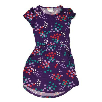 Kids Mae LuLaRoe Geometric Deep Purple Lavender Red Polka Dot Pocket Dress Size 6 fits kids 5-6