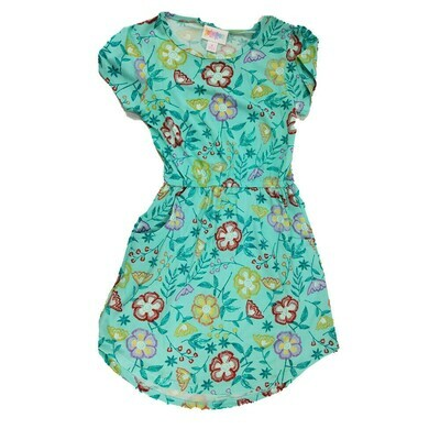 Kids Mae LuLaRoe Floral Teal Yellow Red Pocket Dress Size 6 fits kids 5-6