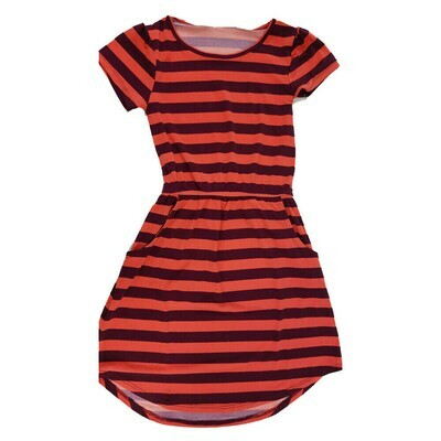 Kids Mae LuLaRoe Geometric Maroon Light Red Stripe Pocket Dress Size 6 fits kids 5-6