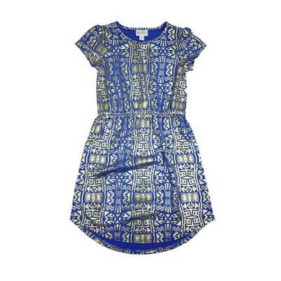 Kids Mae LuLaRoe Elegant Collection Geometric Purple and Metallic Gold Pocket Dress Size 8 fits kids 7-8