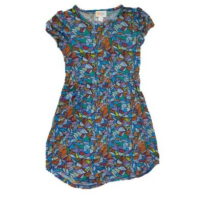 Kids Mae LuLaRoe Geometric Blue Orange Yellow Pocket Dress Size 8 fits kids 7-8