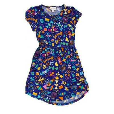 Kids Mae LuLaRoe Geometric Blue Orange Yellow Pocket Dress Size 8 fits kids 7-8