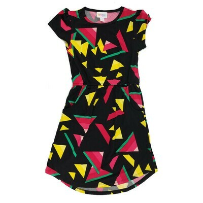 Kids Mae LuLaRoe Geometric Black Yellow Red Pocket Dress Size 8 fits kids 7-8