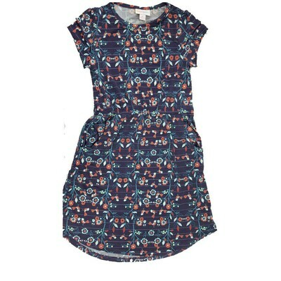 Kids Mae LuLaRoe Floral Dark Blue Purple Pocket Dress Size 8 fits kids 7-8